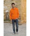 Oranje heren sweater met polo kraag