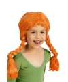 Oranje meisjespruik met vlechten