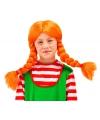 Oranje pruik met vlechten voor meisjes