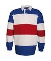 Rood wit blauw heren rugbyshirt