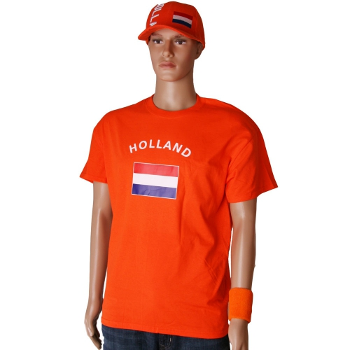 WK Oranje Holland t-shirt met vlag