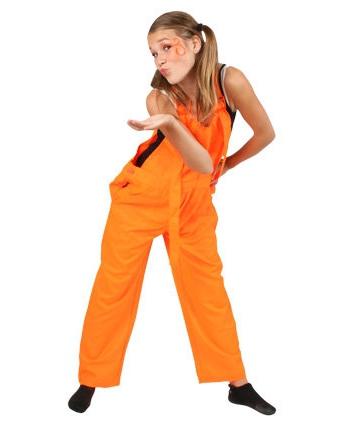 Tuinbroek fluor oranje voor kinderen