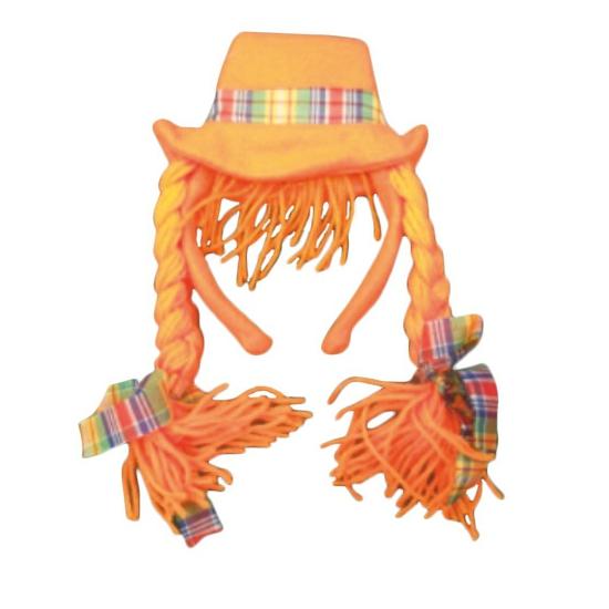 WK Diadeem met oranje hoed en vlechten