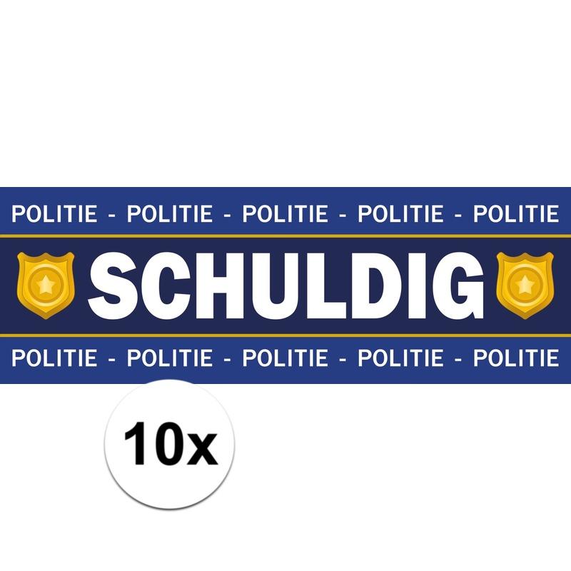 10 x Schuldig stickers voor politie-agent kostuum