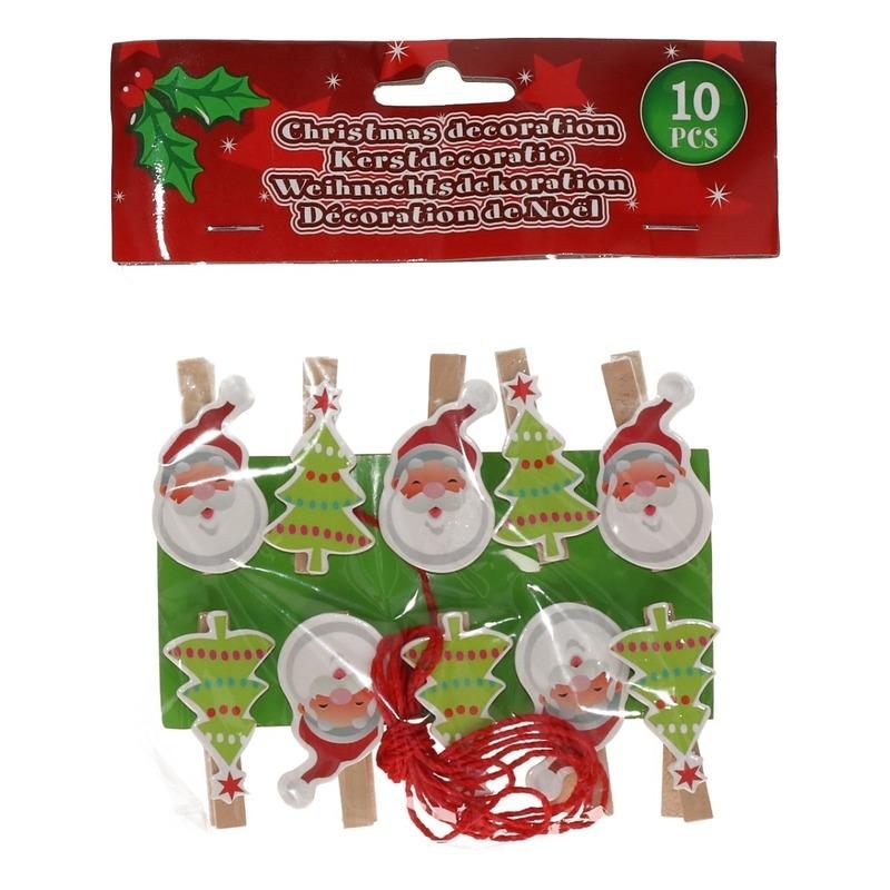 10x Houten Kerst knijpers Kerstman-kerstboom met koord