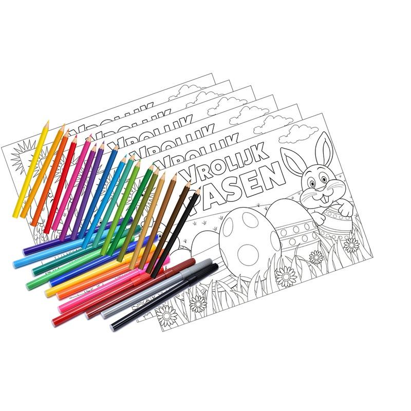 Ingekleurde Kleurplaten Pasen.12 Pasen Kleurplaten Placemats Pakket Met Stiften En