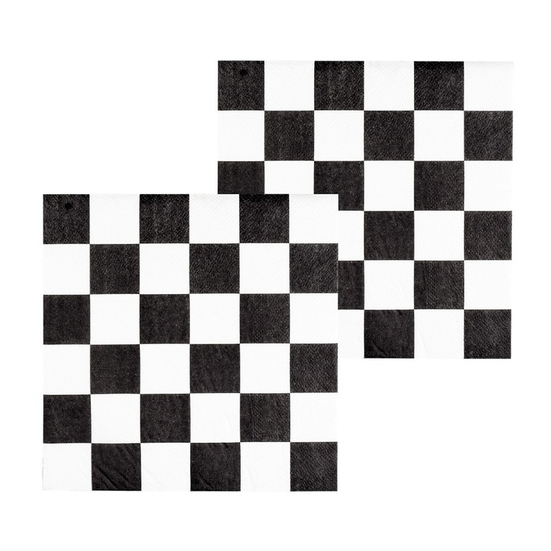 12x Finish auto racing servetten zwart-wit geblokt