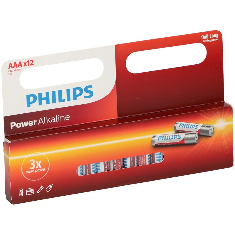 12x Philips AAA batterijen power alkaline 1.5 V