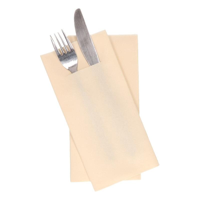 12x stuks Creme servetten met bestek gleuf 40 cm