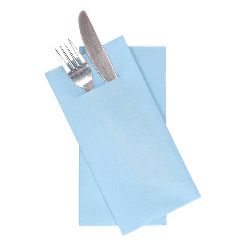 12x stuks Lichtblauwe servetten met bestek gleuf 40 cm