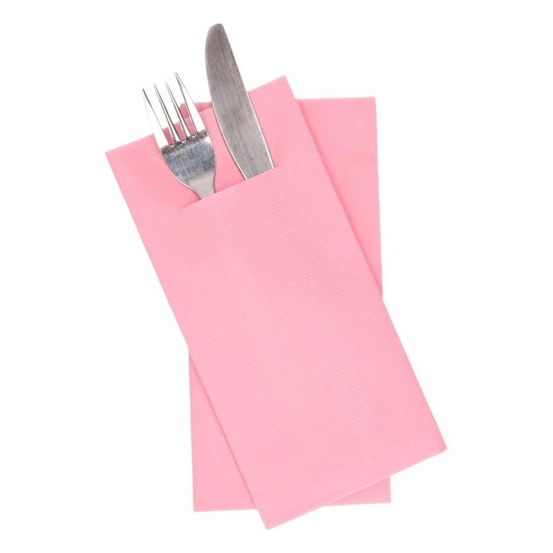 12x stuks Lichtroze servetten met bestek gleuf 40 cm