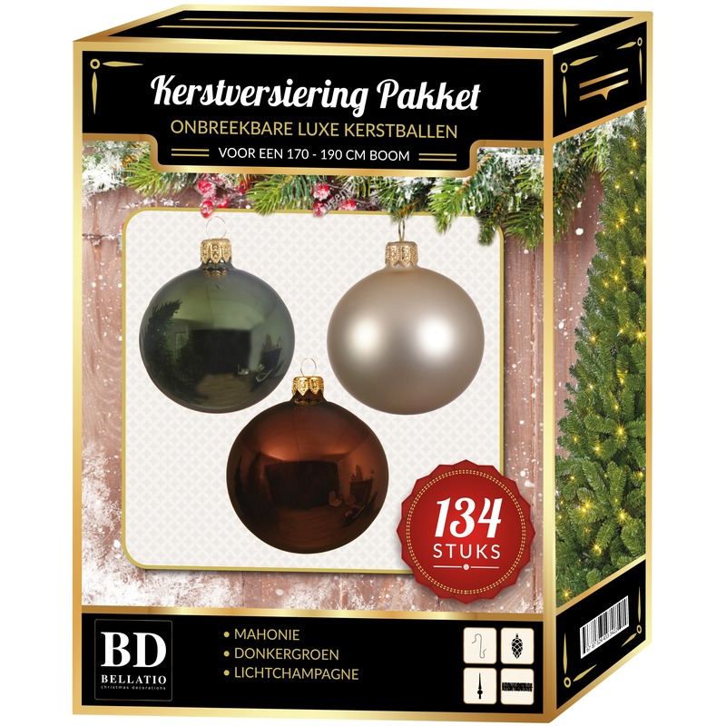 134 stuks Kerstballen mix champagne-groen-bruin voor 180 cm boom