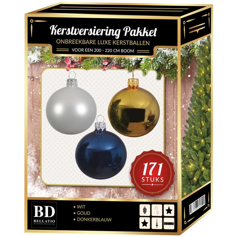 171 stuks Kerstballen mix wit-goud-donkerblauw voor 210 cm boom