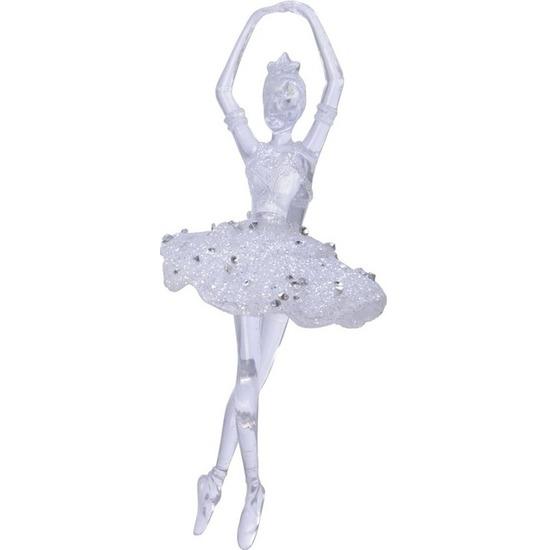 1x Ballerina kerstballen-hangdecoratie kerstversiering 17 cm