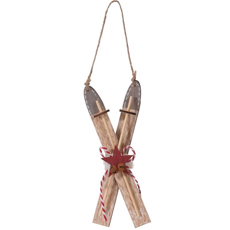 1x Bruine houten ski kerstversiering hangdecoratie 17 cm
