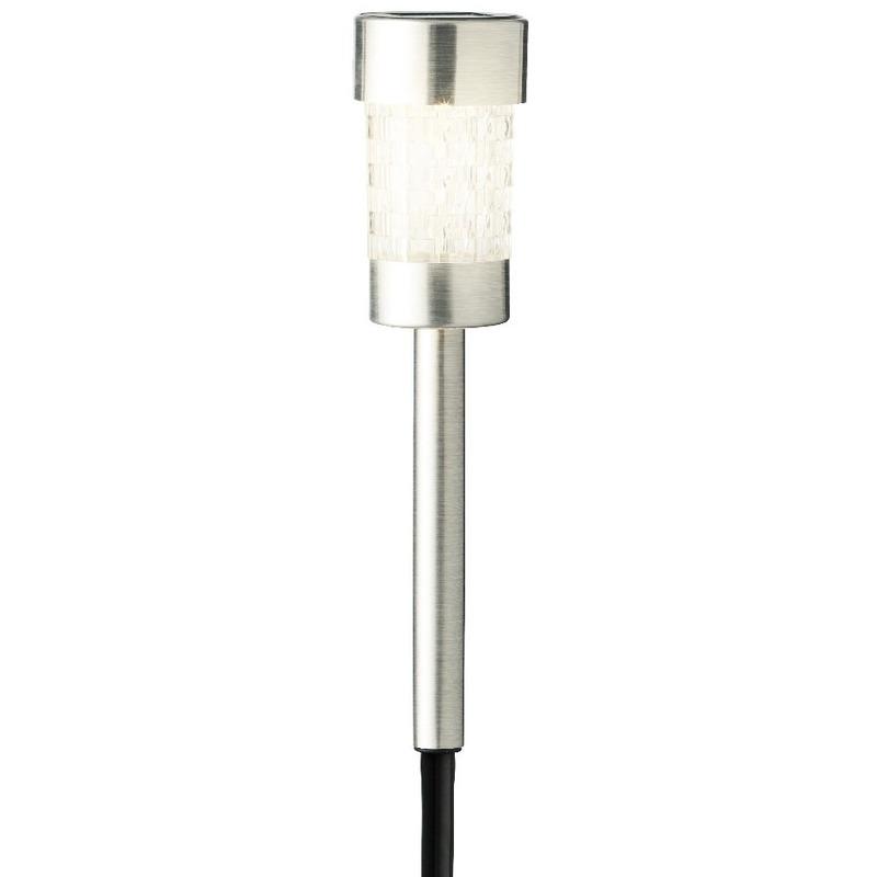 1x Buiten-tuin LED zilveren stekers solar verlichting 26 cm