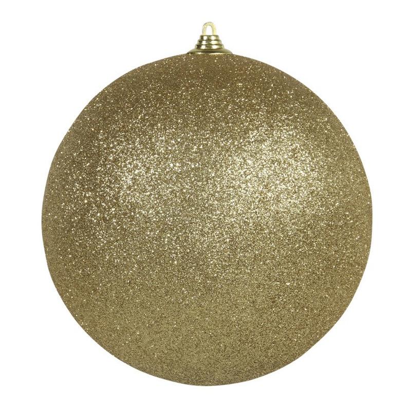 1x Gouden grote kerstballen met glitter kunststof 18 cm