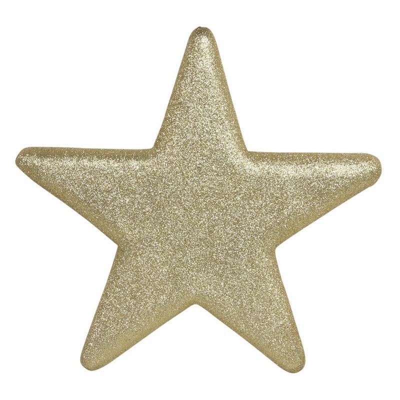 1x Grote gouden glitter sterren kerstversiering-kerstdecoratie 40 cm