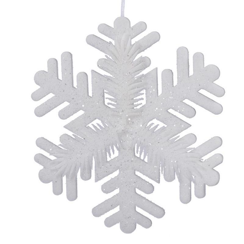 1x Grote witte sneeuwvlokken kerstversiering-kerstdecoratie 50 cm
