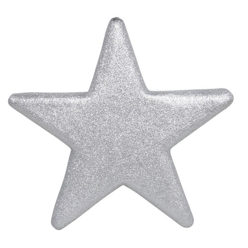 1x Grote zilveren glitter sterren kerstversiering-kerstdecoratie 40