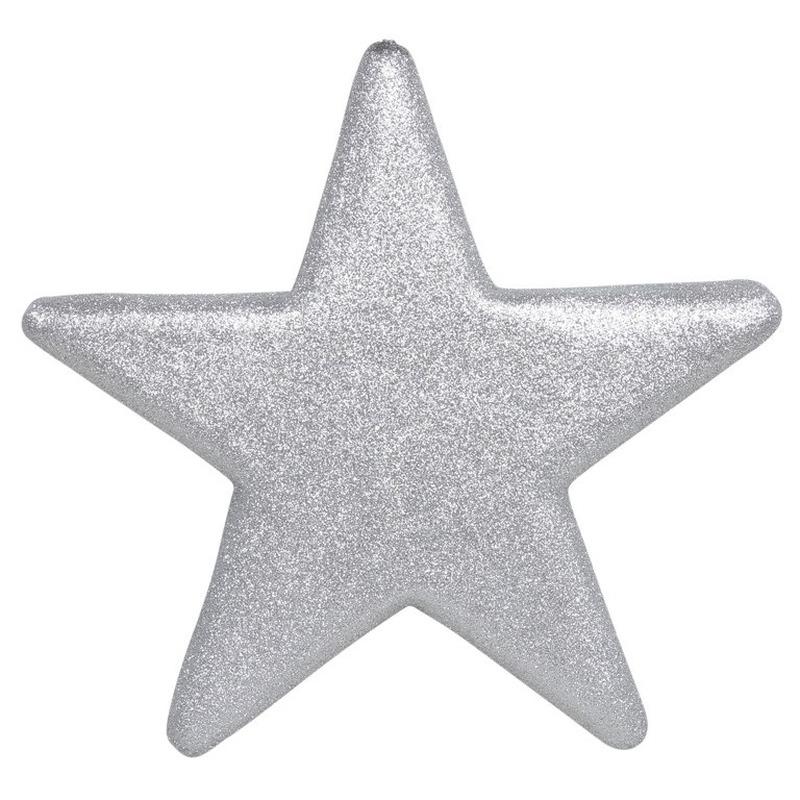 1x Grote zilveren glitter sterren kerstversiering-kerstdecoratie 50 cm