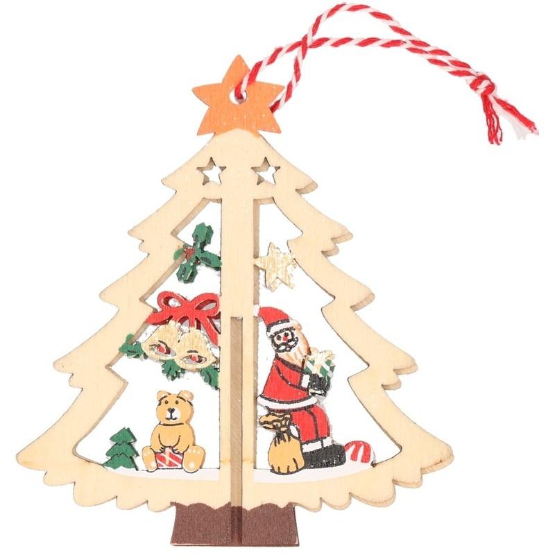 1x Houten boom met kerstman kerstversiering hangdecoratie 10 cm