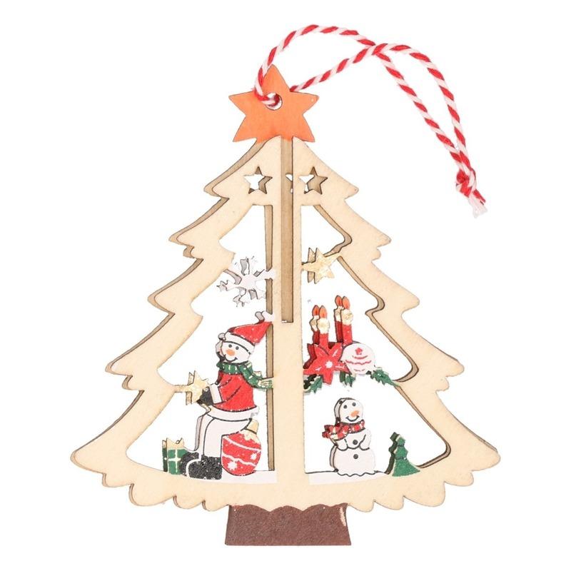 1x Houten boom met sneeuwpop kerstversiering hangdecoratie 10 cm