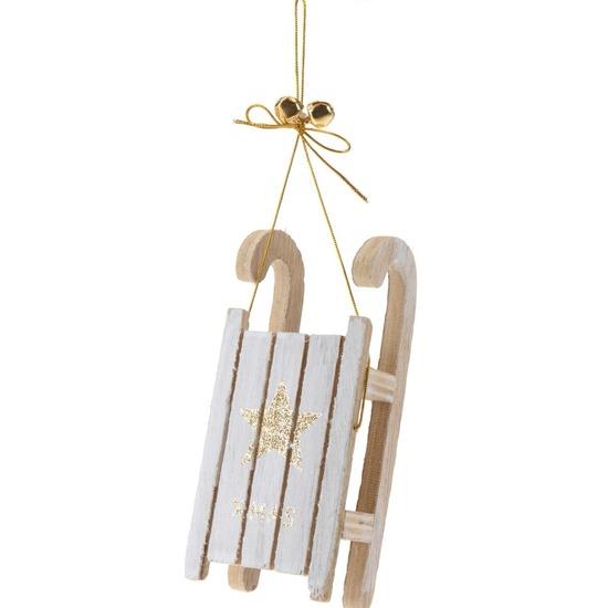 1x Houten slee gouden ster 12 cm kerstversiering hangdecoratie