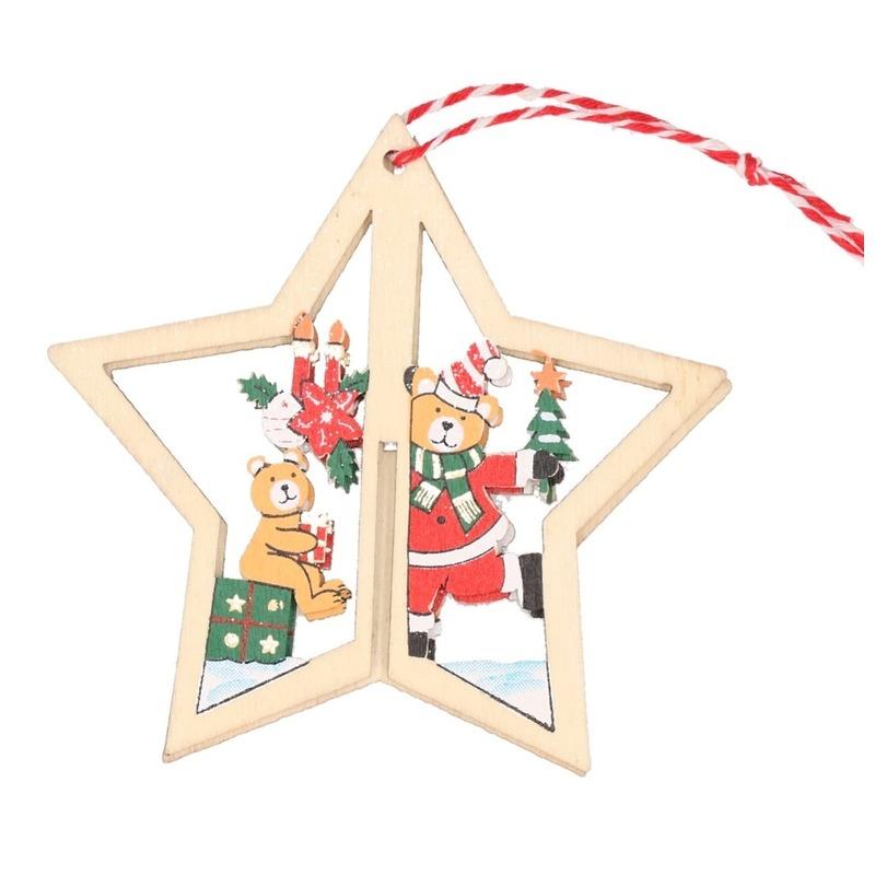 1x Houten ster met beren kerstversiering hangdecoratie 10 cm