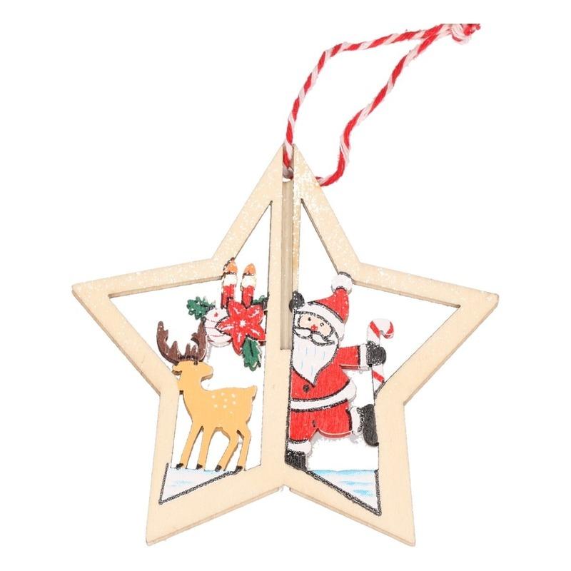 1x Houten ster met rendier kerstversiering hangdecoratie 10 cm