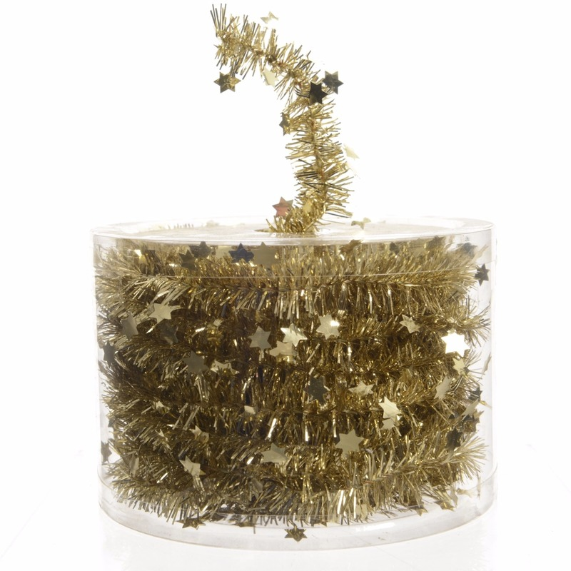 1x Kerstboom sterren folie slingers goud 700 cm