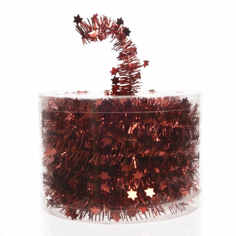 1x Kerstboom sterren folie slingers rood 700 cm