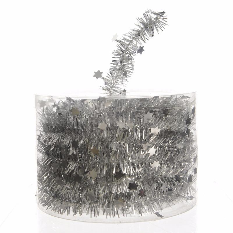 1x Kerstboom sterren folie slingers zilver 700 cm