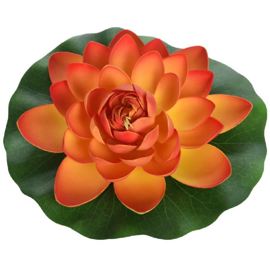 1x Oranje drijvende kunst waterlelie bloemen 26 cm