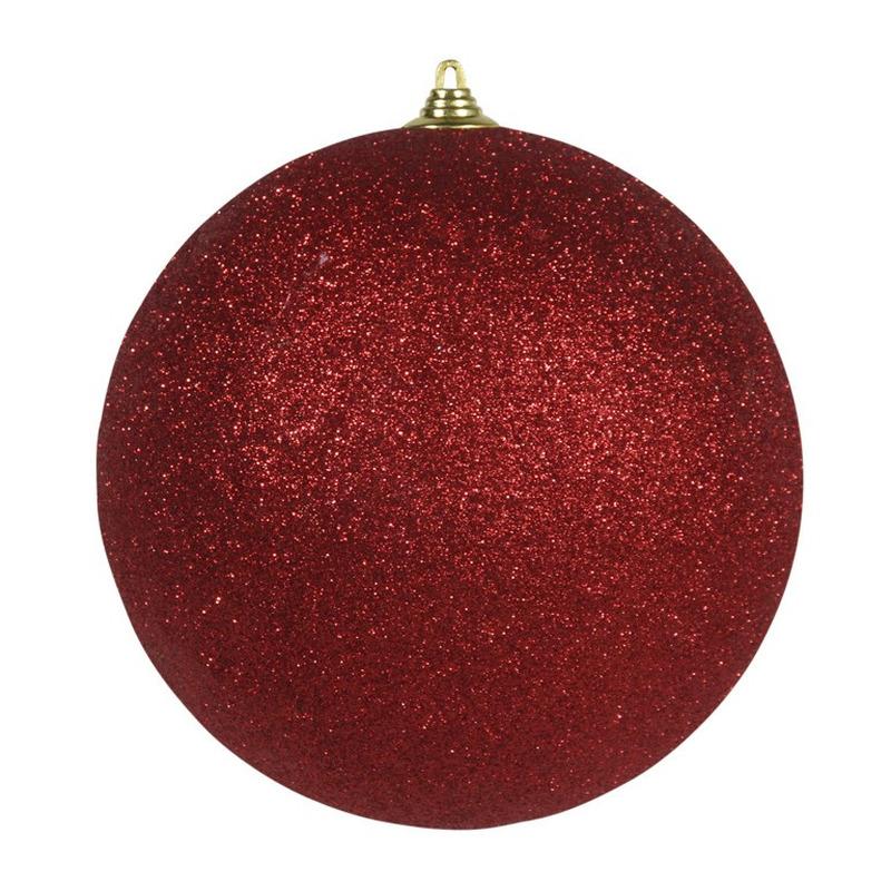 1x Rode grote kerstballen met glitter kunststof 18 cm