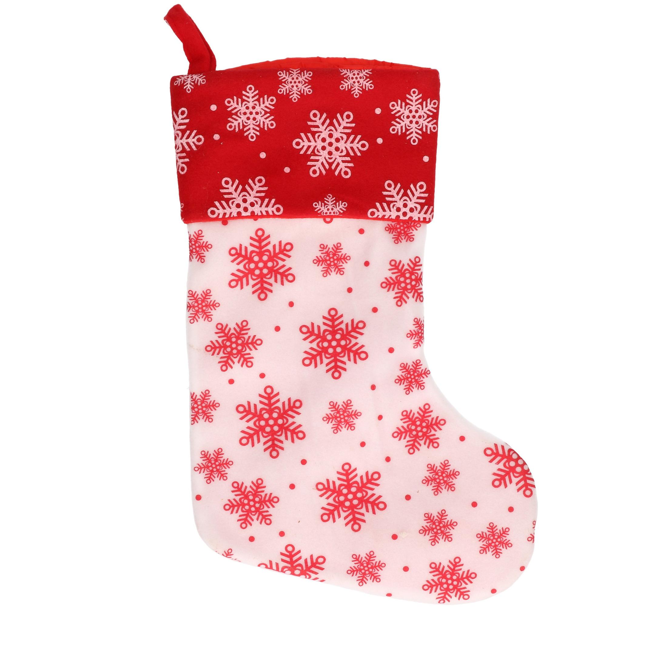 1x Wit-rode kerstsokken met sneeuwvlokken print 40 cm