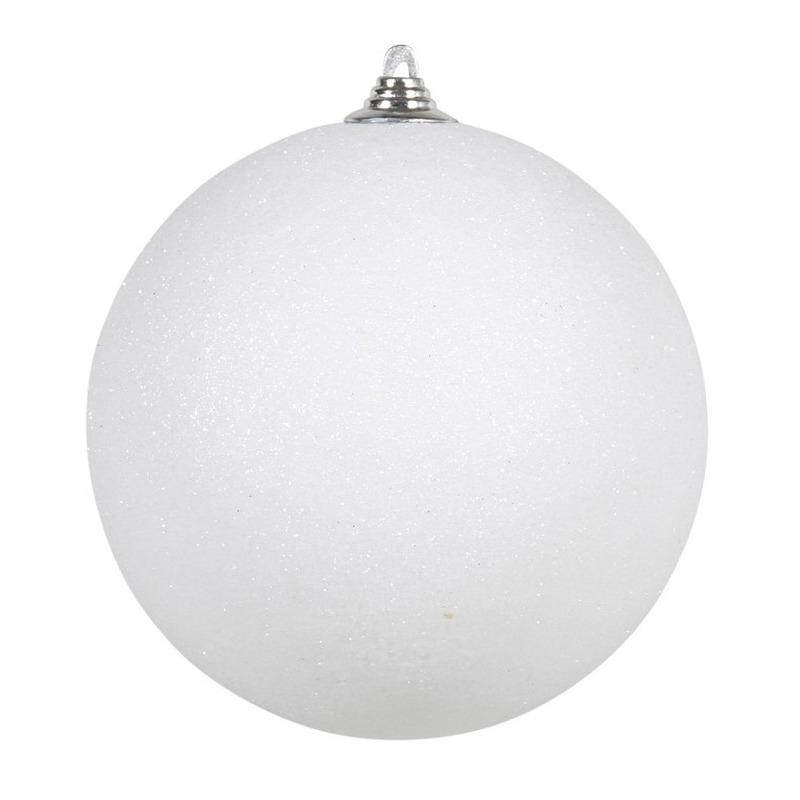 1x Witte grote kerstballen met glitter kunststof 18 cm
