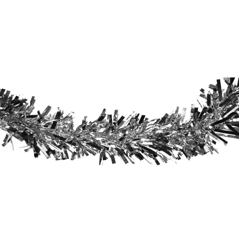 1x Zilveren kerstslingers 400 cm kerstversiering