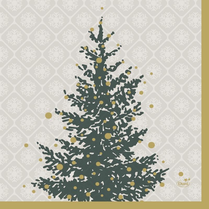 20x Kerst servetten grijs-goud kerstbomen 24 x 24 cm