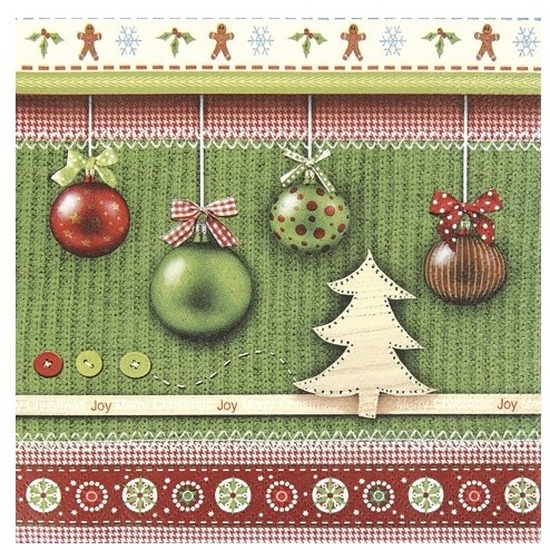 20x Kerst servetten groen met kerstballen 33 x 33 cm