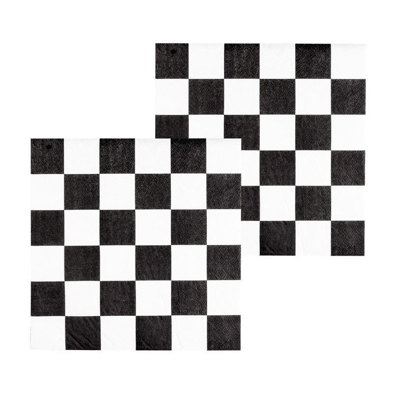 24x Finish auto racing servetten zwart-wit geblokt
