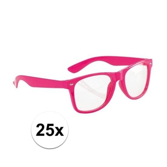7e9636b112cf4e 25x Voordelige party brillen neon roze in oranje artikelen winkel ...