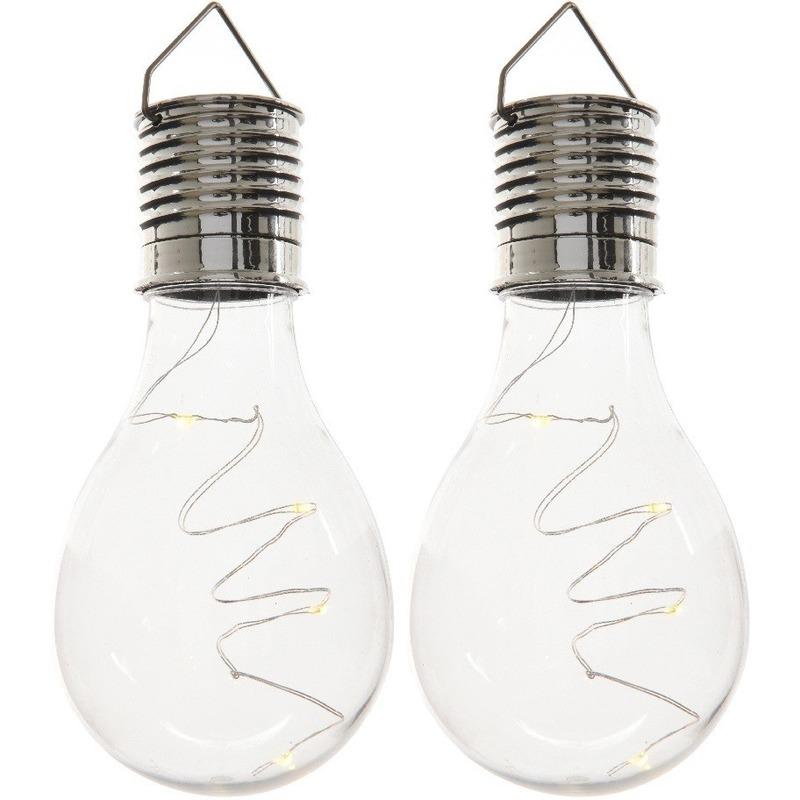 2x Buiten-tuin LED lampbolletjes solar verlichting 14 cm