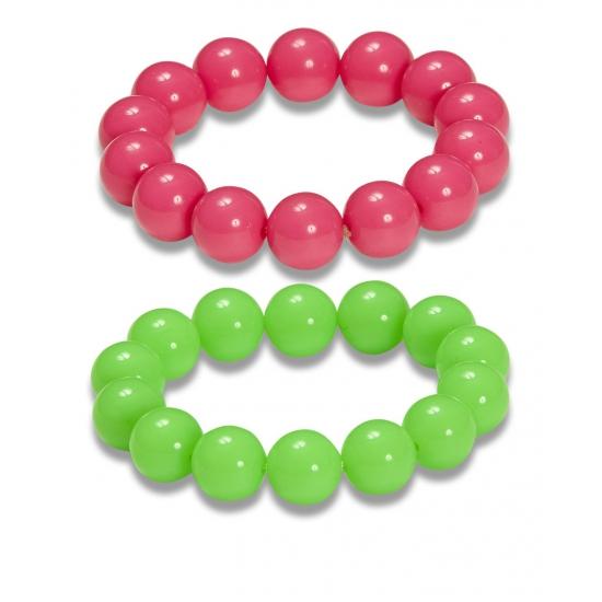 2x Jaren 80 verkleed armbanden neon groen-roze