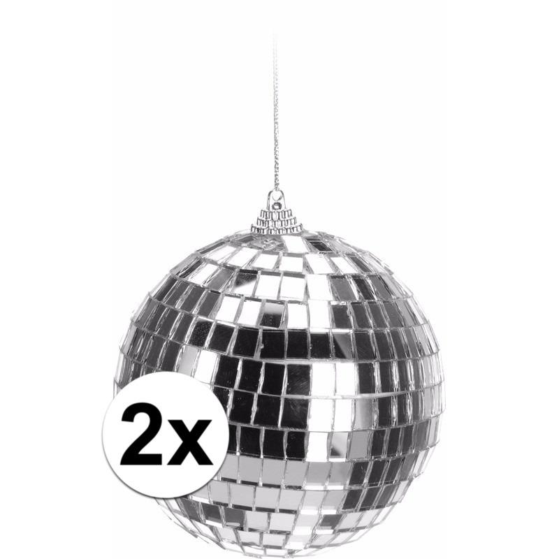 2x Kerstboom decoratie discoballen zilver 10 cm