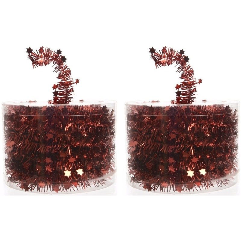 2x Kerstboom sterren folie slinger rood 700 cm