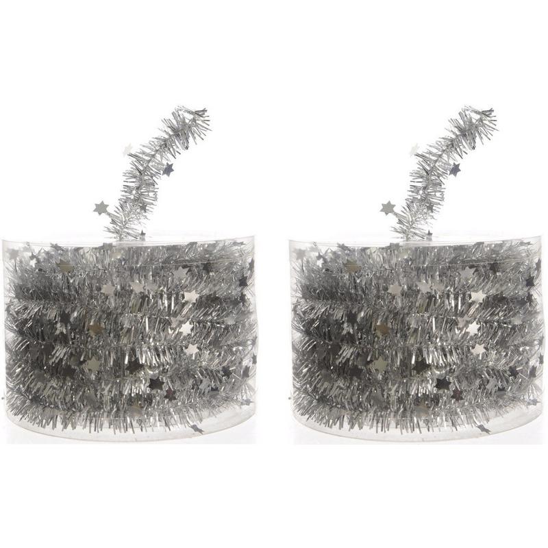 2x Kerstboom sterren folie slinger zilver 700 cm