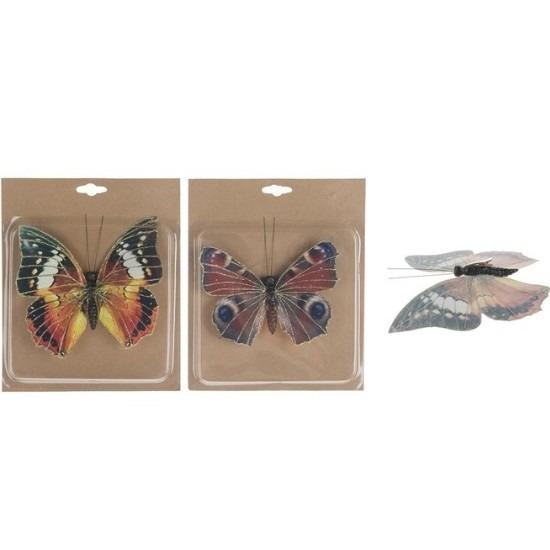 2x Kerstboomversiering vlinders op clip 17 cm