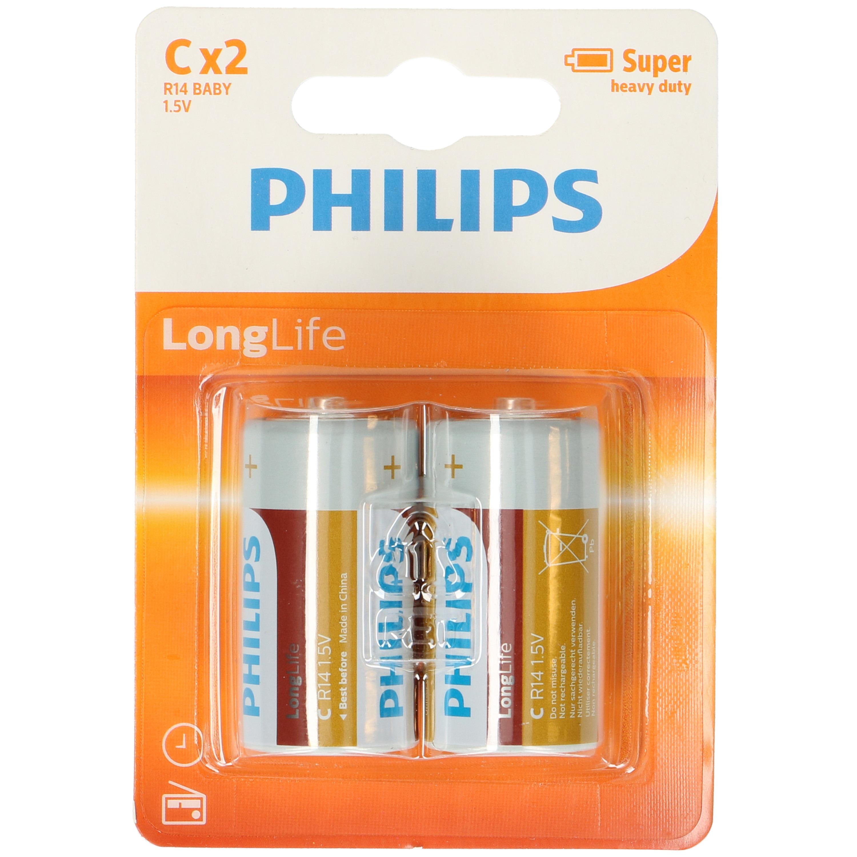 2x Philips Long Life batterijen LR14 C 1,5 V