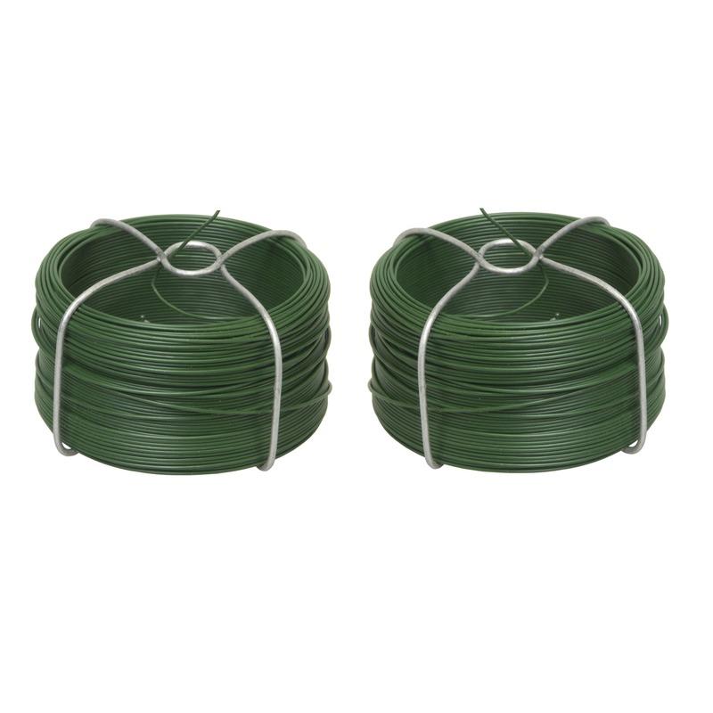 2x rolletjes groen binddraad voor planten en bloemen 50 meter p-st